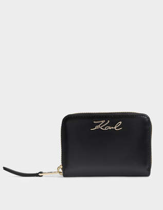 Karl Lagerfeld K/Signature Small Zip Around Wallet in Black Smooth Calf Leather