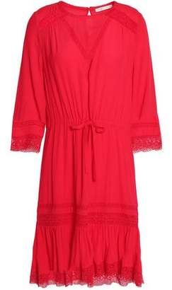 Maje Ronsard Lace-Trimmed Crepe Dress