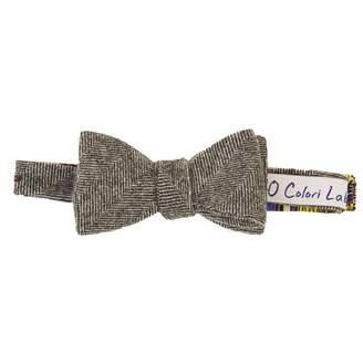 40 Colori - Grey Herringbone Wool Butterfly Bow Tie
