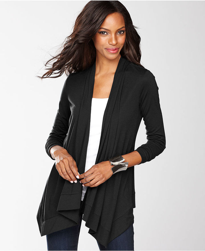INC International Concepts Cardigan, Long-Sleeve Draped Open-Front