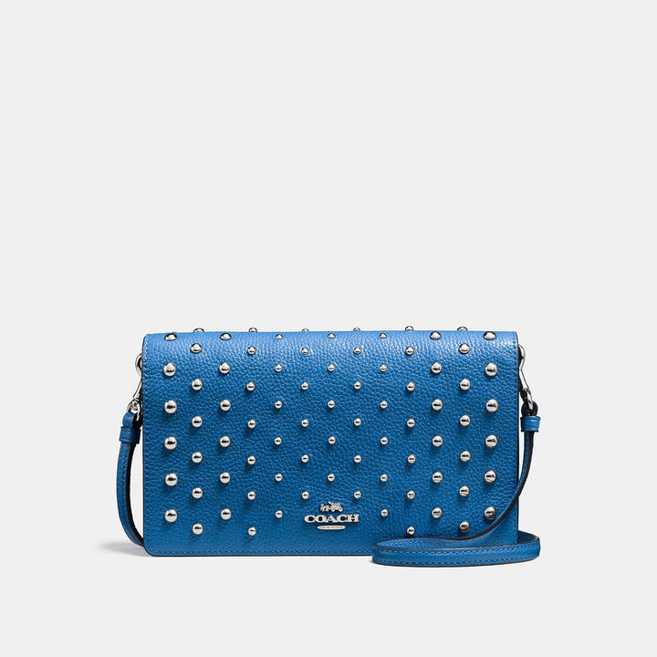 Coach  COACH Coach Foldover Crossbody In Polished Pebble Leather With Ombre Rivets