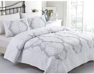 California Design Den Royal Damask 3-Piece Full/Queen Size Quilt Set, Damask Luxury Quilted Bedspreads, Charcoal