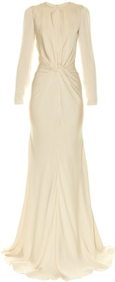 Twist-front long-sleeved cady gown