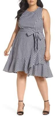 Eliza J Belted Ruffle Hem Gingham Dress