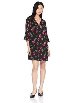18b42a10 Jessica Howard Women's Petite 3/4 Bell Sleeve V Neck A-Line Dress