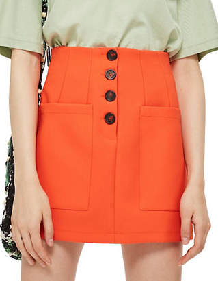 Topshop Buttoned Mini Skirt