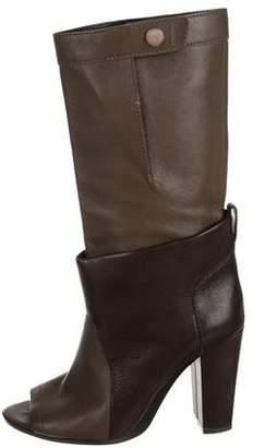 3.1 Phillip Lim Leather Peep-Toe Mid-Calf Boots