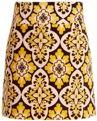 La Doublej - Tile Print A Line Cotton Velvet Mini Skirt - Womens - Yellow Multi
