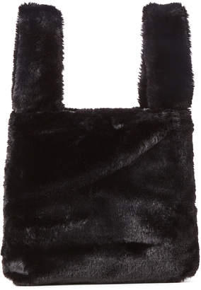 French Connection Black Faux Fur Tote