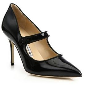 Manolo Blahnik Campari Patent Leather Mary Jane Pumps $735 thestylecure.com