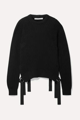 2ac6412f4e823 Helmut Lang Grosgrain-trimmed Ribbed Cotton Sweater - Black