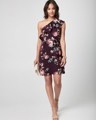 Le Château Floral Crepe de Chine One Shoulder Dress
