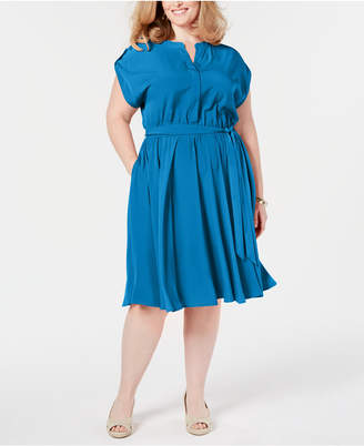 Charter Club Plus Size Cap-Sleeve Shirtdress