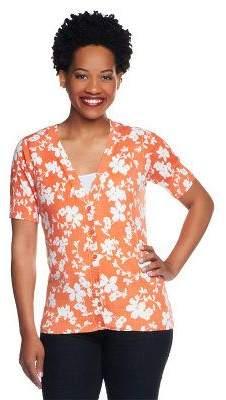 Denim & Co. Floral Print Short Sleeve Button Front Cardigan
