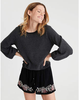 American Eagle AE Boucle Balloon Sleeve Sweater