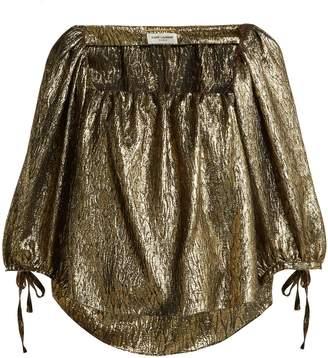 Saint Laurent Metallic silk-blend jacquard blouse