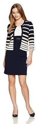 Sandra Darren Women's Petite 2 Pc 3/4 Sleeve Striped Sheath Jacket Dress with Belt