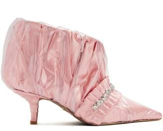 Cesare Paciotti By Midnight - Crystal Embellished Ruched Satin Ankle Boot - Womens - Pink