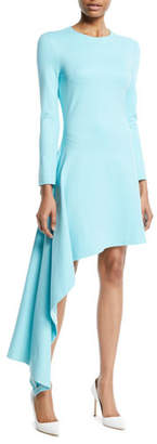 Rosetta Getty Long-Sleeve Asymmetric-Drape Interlock Jersey Dress