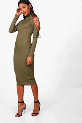 boohoo One Shoulder Lace Up Eyelet Midi Dress