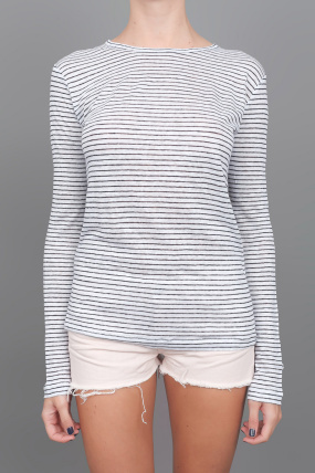 T by Alexander Wang Long Sleeve Striped Tee Black/White