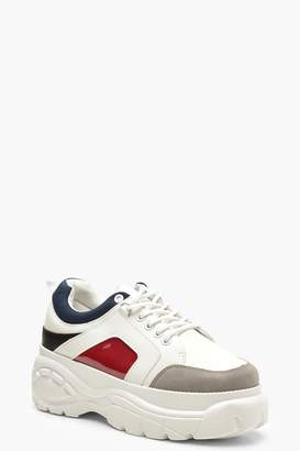 boohoo Colour Block Chunky Platform Trainers