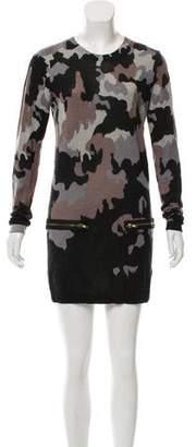Markus Lupfer Wool Camo Print Knit Mini Dress