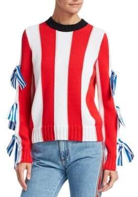 MSGM Bows Stripe Knit Sweater