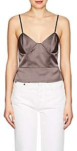 Mason by Michelle Mason WOMEN'S SILK CHARMEUSE CROP CAMI-GRAY SIZE 0