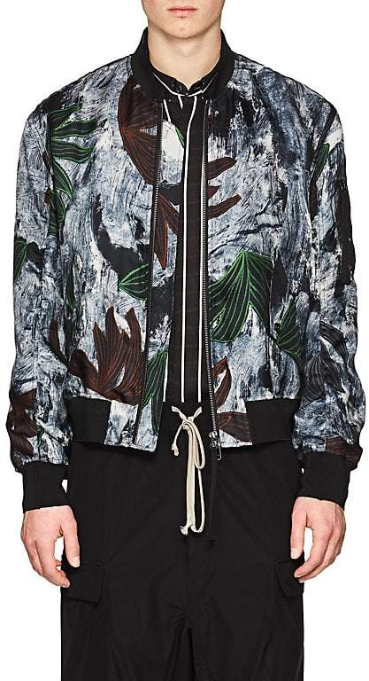 Men's Brushstroke & Floral Silk Bomber Jacket
