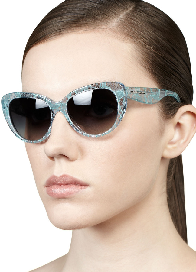 D&G Lace-Print Cat-Eye Sunglasses