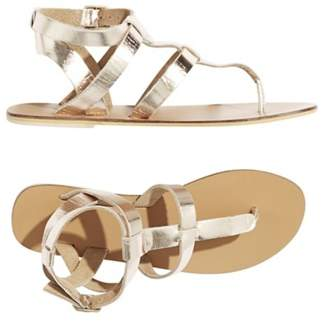 Warehouse Leather Toe Post T-Bar Sandals