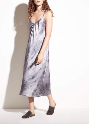 Vince Watercolor Marble Shirred Cami Dress
