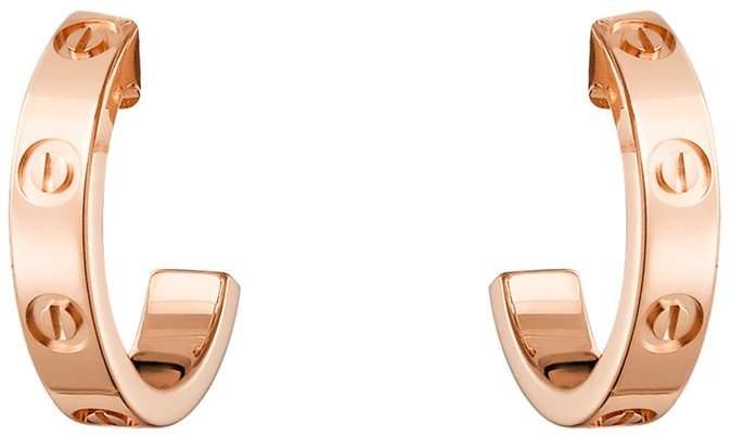 Mini Pink Gold Love Hoop Earrings