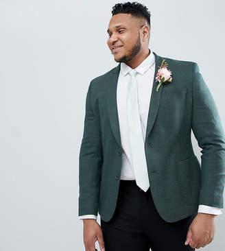 Asos DESIGN Plus wedding skinny blazer in green wool mix
