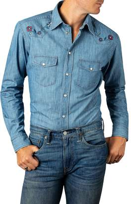 Eton Slim Fit Embroidered Denim Shirt