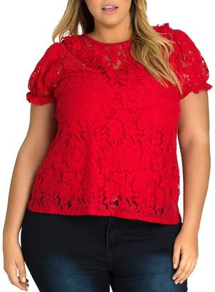 City Chic Plus Ruffled Lace Top