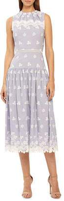 ML Monique Lhuillier Sleeveless Dropped-Waist Embroidered Poplin Midi Dress w/ Lace