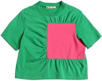 Marni Junior Ruffled Cotton Jersey T-Shirt