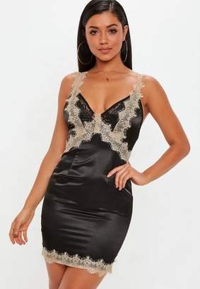 Missguided Black Lace Trim Satin Bodycon Dress