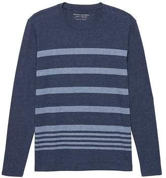 Banana Republic Luxury-Touch Stripe Long-Sleeve Crew-Neck T-Shirt