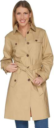 Isaac Mizrahi Live! Water Resistant Trench Coat w/ Printed Lining