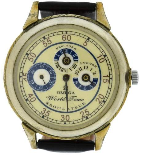 OmegaOmega World Time Regulateur Leather 49mm Mens Watch