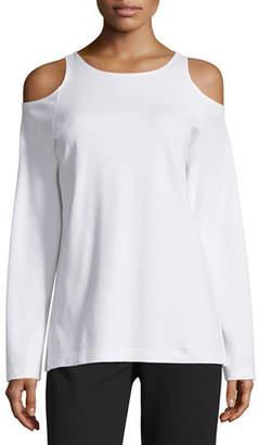 Joan Vass Petite Cold-Shoulder Long-Sleeve Top