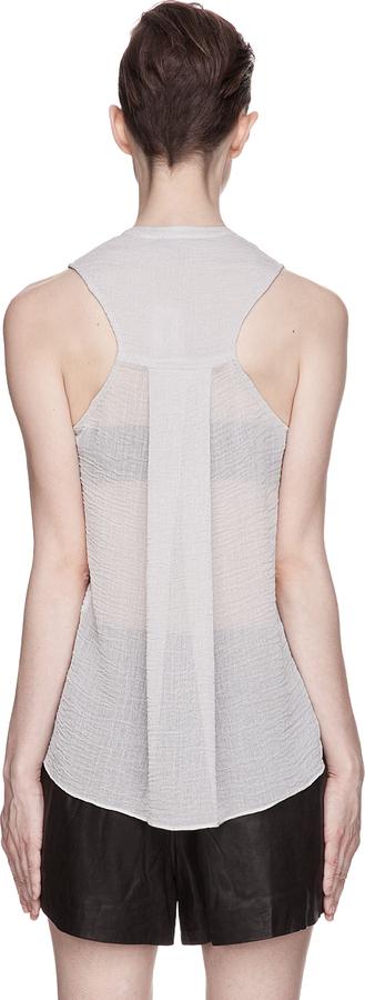 Helmut Lang Helmut Pale Grey Sheer Textured Blouse