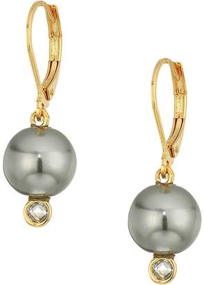Cole Haan Pearl Drop Earrings with Cubic Zirconia Accents Lever Back Closure Earring