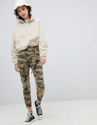 Bershka high waist tie detal mom pants in camo khaki
