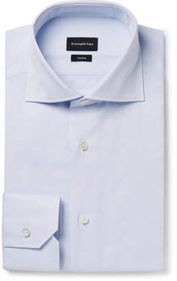 Ermenegildo Zegna Light-Blue Pin-Dot Cotton-Poplin Shirt