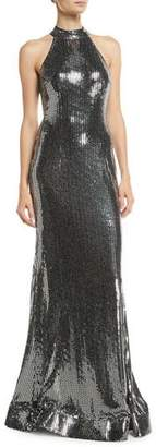 Jovani Allover Sequin Halter Dress