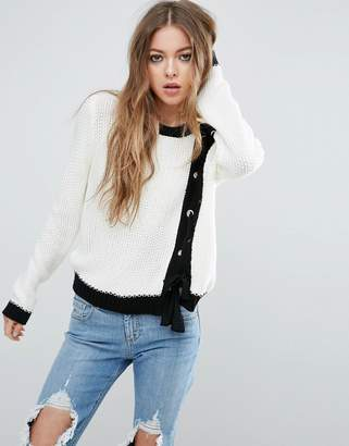Asos Jumper With Lace Up Front